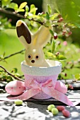 White chocolate bunny in a flower pot