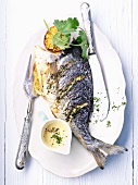 Gilthead with herb sauce