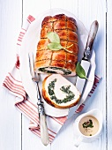 Roasted turkey roll with spinach ricotta filling