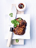 Beef steak with garlic sauce and cilantro (China)