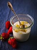 Crème fraîche with lemon zest and strawberries