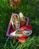 Wraps with Caesar salad for a picnic