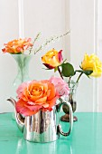 Roses in various vases