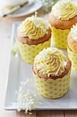 A plate of elderflower muffins