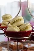 Macaroons with pistachio cream filling