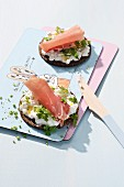 Wholemeal bread with cottage cheese, Parma ham and herbs