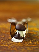 A mushroom-shaped chocolate