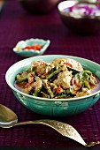 Penang curry with chicken, green beans, chillies and peanuts