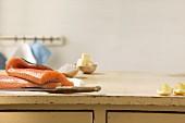 Salmon on a worktop