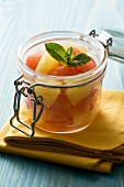 Watermelon and pineapple salad in a jar
