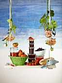 Tapenade and tomato ketchup in jars, fresh olives and tomatoes