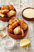 Prawns in filo pastry with aioli