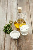 Ingredients for sauces: olive oil, yoghurt, herbs, salt