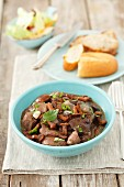 Chicken and mushroom stew with red wine