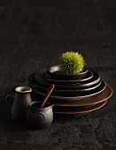 Dark brown ceramic crockery with a chestnut in its prickly case