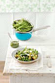 Potato, green bean and rocket salad with pesto