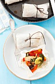 Chicken with vegetables, baked in parchment