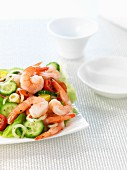 Prawn salad with cucumber, tomatoes and peppers