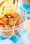 Salmon Tartare with Sesame Crackers; Close Up