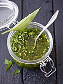 Wild garlic pesto in a storage jar