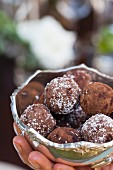 Chocolate truffles with coconut