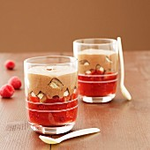 Trifle with mousse and red berries