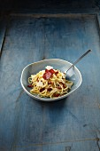 Linguine with chorizo carbonara