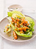 Lettuce with carrots, herbs and vinaigrette