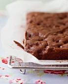 Brownie traybake, not yet sliced