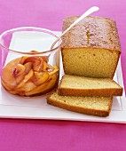 Lemon cake with stewed peaches
