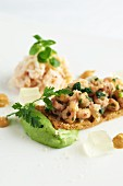 Shrimps on toast and crab salad with pea purée