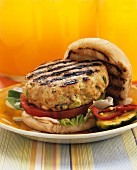 Barbecued chicken burger in a bun