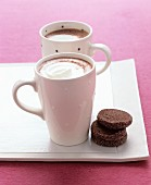 Hot chocolate with whipped cream and biscuits
