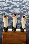 Cones filled with salmon tartare and caviar