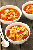 Minestrone with white cabbage, courgette, peppers and beans