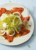 Vegetable salad with lemons and wild salmon