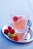 Raspberry granita with fresh raspberries