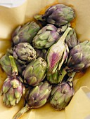 Artichokes, whole and halved