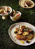 Porcini mushrooms with figs and Rösti (fried Swiss potato cakes)