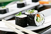 Maki, carrots, avocado, cucumber