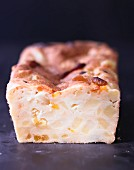 Potato cake with cheese and apricots