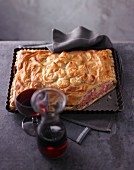Leek pie with minced meat and pine nuts