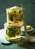 Green tomatoes in a sage pickling liquor