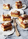 Slices of Brazil nut cake with chocolate caramel topping