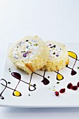 Sweet pomegranate roulade with ricotta, pistachios and dates