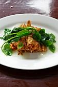 Tofu skin rolls with Malabar spinach