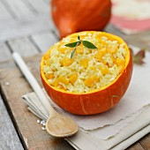 Squash risotto with parmesan, served in a hollowed-out Hokkaido squash