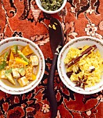 Lentil curry with tofu, avocado and squash, served with spiced rice