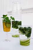 Drinks with fresh lemon balm