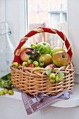 A basket on a windowsill with a red ribbon wrapped around the handle full of apples and ornamental apples